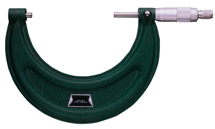 Micrometer with painted sheet metal frame