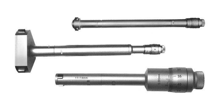 Three point inside micrometer for through hole